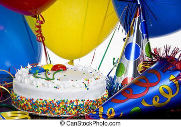 chapéus partido, aniversário, balões, bolo
