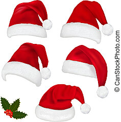 chapéus, vermelho, cobrança, santa