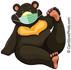 charater, caricatura, urso, máscara, pretas, desgastar