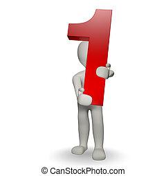 charcter, human, numere um, segurando, 3d