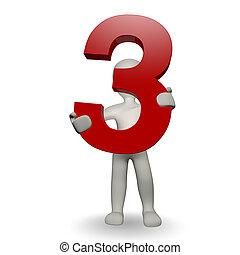 charcter, human, três, número, segurando, 3d