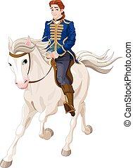 charming, príncipe, montando, cavalo