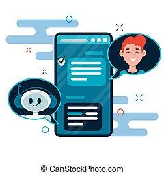chatbot, apartamento, bot, caricatura, conversa, aplicação, local, bandeiras, cute, smartphone., usuários, móvel, teia, robô, conversando, concept., ilustração, vetorial