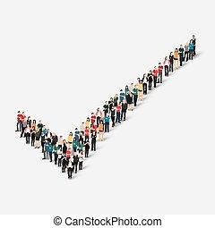 checkmark, forma, pessoas, grupo