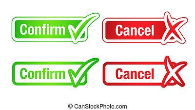 checkmarks, botões, confirmar, cancelamento, &