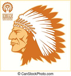 chefe, americano, cabeça, nativo