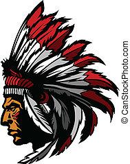 chefe, gráfico, cabeça, indianas, mascote