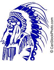 chefe, indianas, cabeça, mascote