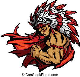 chefe, indianas, flexionar, vetorial, mascote, gráfico, braço