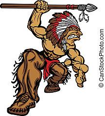 chefe, indianas, lança, mascote
