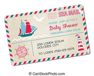 chegada, cartão postal, -, chuveiro, tema, vetorial, mar, náutico, bebê, ou