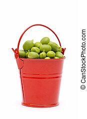 cheio, balde, ervilhas, experiência verde, branca