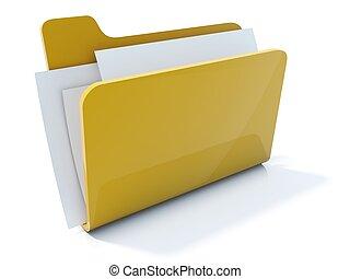 cheio, isolado, amarela, pasta, branca, ícone