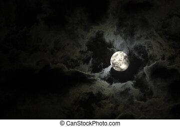 cheio, nuvens, eerie, céu, contra, lua, pretas, noturna, branca