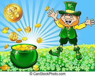 cheio, ouro, st., patrick's, vetorial, leprechaun, pote, dia