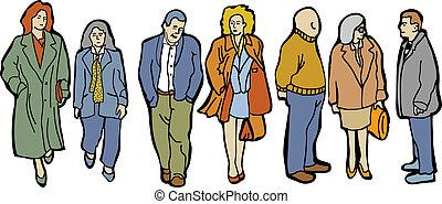cheio, pessoas, comprimento, grupo