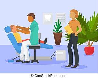 childrens, escritório, doutores, cuidados de saúde, seu, clinic., doutor, mulher, paciente, verificar, assistente, dental, odontólogo, limpeza, odontologia, menino sentando, illustration., dente, vetorial, dentes, macho, procedimento