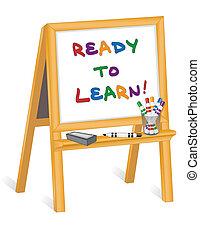childs, cavalete, pronto, aprender