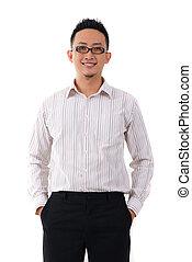 chinês, negócio, isolado, pessoa, asiático, fundo, macho branco, formal