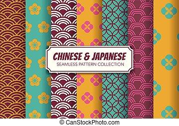 chinês, padrão, set., japoneses, ilustração, seamless, vetorial