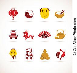 china, cobrança, ícones