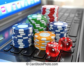 chips., dados, laptop, casino., gambling., virtual, online