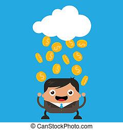 chovendo, moedas, ouro
