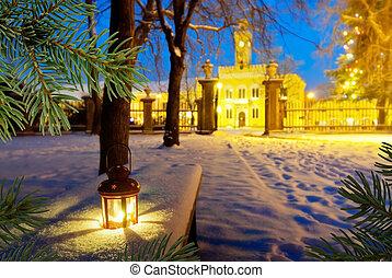 christmastime, parque, lanterna
