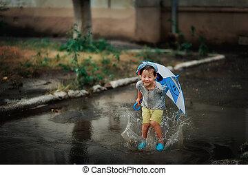 chuva, criança