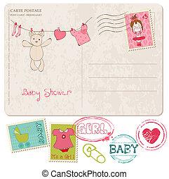 chuveiro, bebê, selos, jogo, cartão