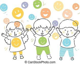 chuveiro, felicidade, crianças, ilustração