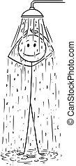 chuveiro, levando, caricatura, homem