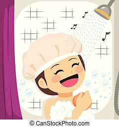 chuveiro, menina, cantando