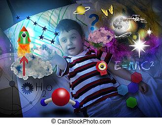 ciência, espaço, sonhar aproximadamente, menino, educação