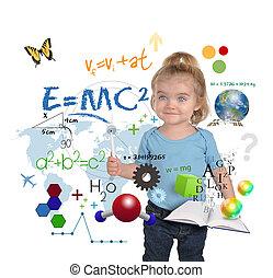 ciência, jovem, escrita, gênio, menina, matemática