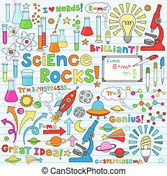 ciência, vetorial, ilustração, doodles