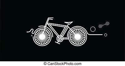 ciclismo, modernos, apartamento, vetorial, illustration., desenho, arte, linha