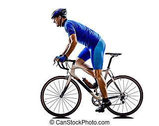 ciclista, silueta, bicicleta, estrada, ciclismo