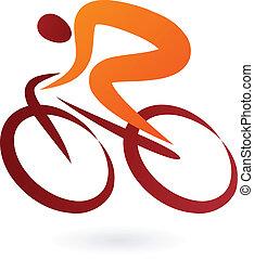 ciclista, vetorial, -, ilustração, ícone