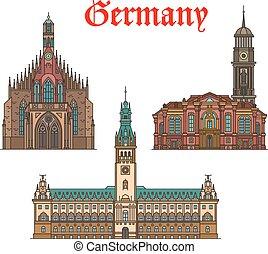 cidade, alemão, viagem, igreja, ícone, corredor, marcos