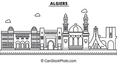 cidade, argel, illustration., linear, golpes, editable, wtih, icons., marcos, famosos, skyline, vetorial, desenho, vistas, cityscape, linha, arquitetura paisagem