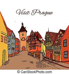 cidade, cartão postal, antigas