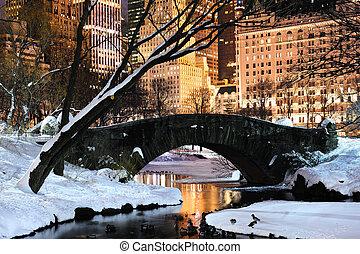cidade, central, anoitecer, panorama, parque, york, novo, manhattan