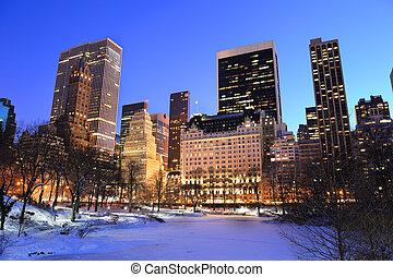 cidade, central, inverno, panorama, parque, york, novo, manhattan