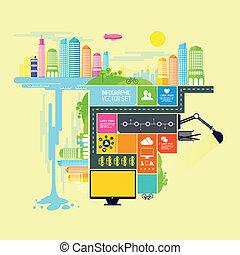 cidade, cidade, vetorial, ilustração