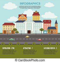 cidade, conceito, antigas, infographic, elementos, paisagem