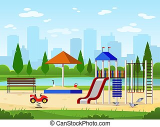 cidade, crianças, jardim, atividades, parque, ilustração, playground., ao ar livre, lazer, cityscape, entretendo, paisagem, pátio recreio