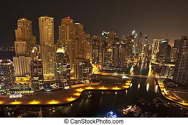 cidade, dubai, noturna