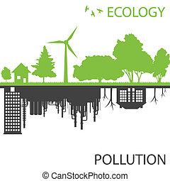 cidade, ecologia, contra, vetorial, experiência verde, poluição
