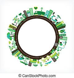 cidade, ecologia, -, meio ambiente, verde, círculo